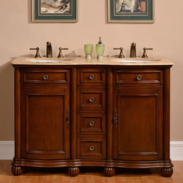 Shop silkroad exclusive 52 inch travertine stone top - 52 inch bathroom vanity double sink ...