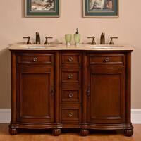 Silkroad Exclusive 52-inch Travertine Stone Top Bathroom Double Sink Vanity