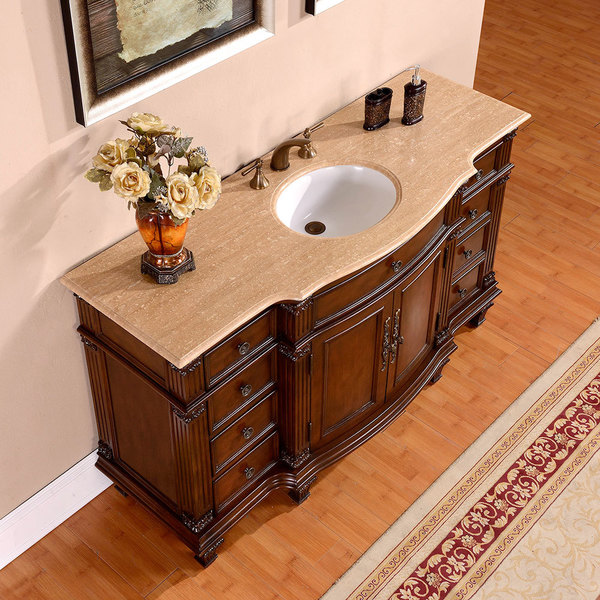 Silkroad Exclusive 60 Inch Travertine Stone Top Bathroom Single Sink Vanity Free Shipping