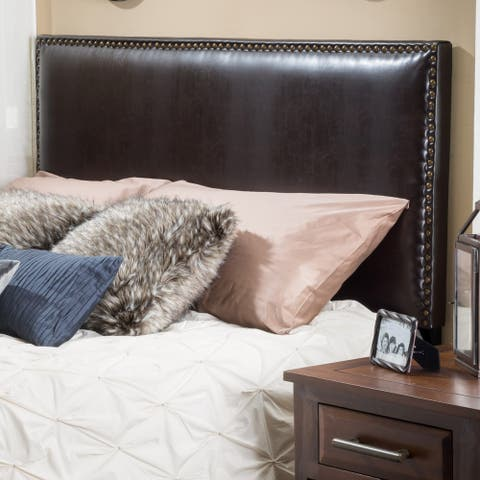 Hilton Adjustable Full/Queen Bonded Leather Headboard by Christopher Knight Home