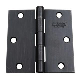 "GlideRite 3.5"" x 3.5"" Square Corner Oil Rubbed Bronze Door Hinges (Pack of 12)"