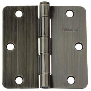 """GlideRite 3.5"""" x 1/4"""" Radius Antique Brass Door Hinges (Pack of 12)"""