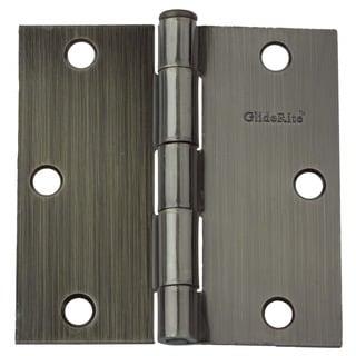 """GlideRite 3.5"""" x 3.5"""" Square Corner Antique Brass Door Hinges (Pack of 12)"""