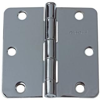 "GlideRite 3.5"" x 1/4"" Radius Polished Chrome Door Hinges (Pack of 12)"