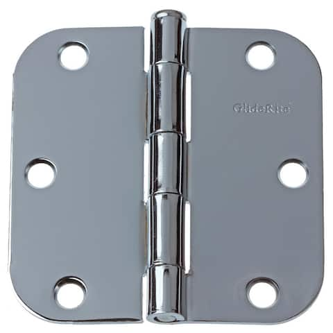 "GlideRite 3.5"" x 5/8"" Radius Polished Chrome Door Hinges (Pack of 12)"