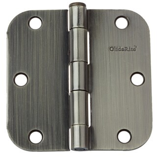 "GlideRite 3.5"" x 5/8"" Radius Antique Brass Door Hinges (Pack of 12)"