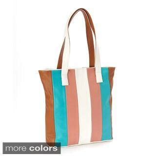 Multicolor Striped Leather Tote Bag