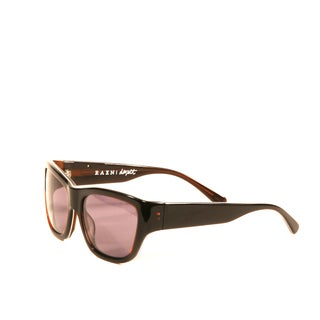Raen Dorset Brown and White Pin Stripe Sunglasses with Smoke Lenses