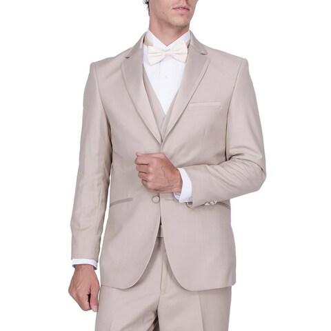 Men's Beige Vested Tuxedo with Smart Satin Trim