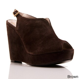 Nvy Women's 'Foxy' Suede Slingback Ankle Strap Wedges