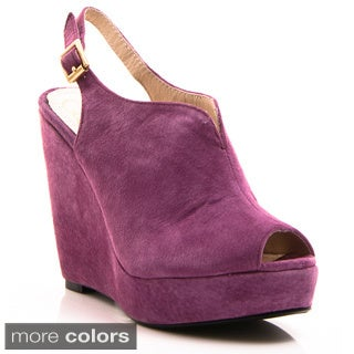 Nvy Women's 'Foxy' Suede Slingback Ankle Strap Wedges (More options available)