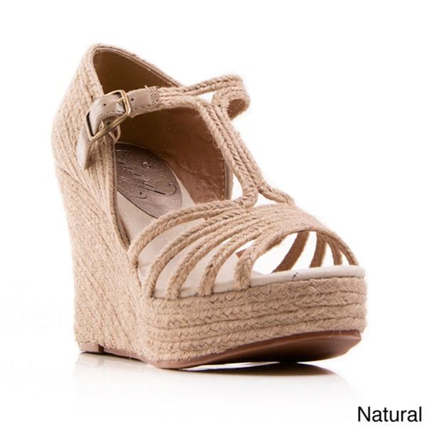 Nvy Women's 'Grub' T-Strap Open-toe Espadrille Wedges