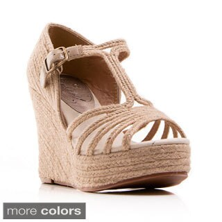Nvy Women's 'Grub' T-Strap Open-toe Espadrille Wedges