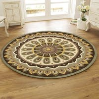 LR Home Hand Tufted Dazzle Rustic Medallion Brown Wool Rug - 6'