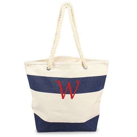 Personalized Navy Striped Canvas Tote with Rope Handles