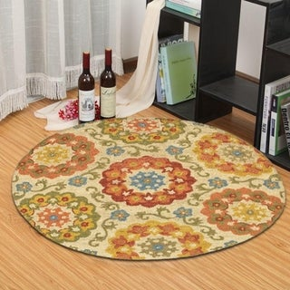 LNR Home Dazzle Ivory Floral Round Area Rug (4' Round)