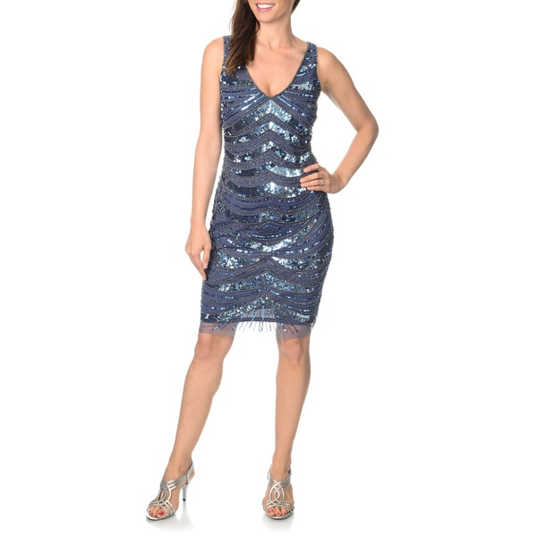 Shop Patra Womens Allover Hand Beaded And Sequin Evening Dress