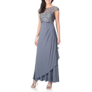 Patra Women&39s Lace Pop-Over Jersey Knit Evening Gown - Free ...