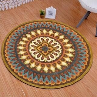LNR Home Dazzle Brown Geometric Round Area Rug (4' Round) - 4' Round