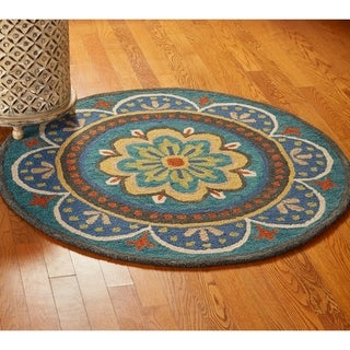 LR Home Hand Tufted Dazzle Blooming Medallion Blue Wool Rug - 6' Round