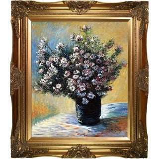 Claude Monet 'Vase of Flowers' Hand Painted Framed Canvas Art