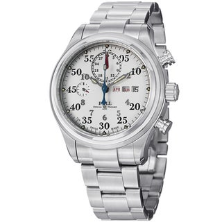 Ball Men's CM1030D-S1J-WH 'Trainmaster Racer' White Dial Stainless Steel Watch