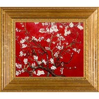 Vincent Van Gogh 'Branches Of An Almond Tree In Blossom (Interpretation in Red)' Hand Painted Framed