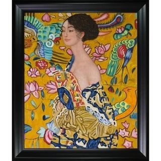 Gustav Klimt 'Signora con Ventaglio Interpretation' Hand Painted Framed Canvas Art