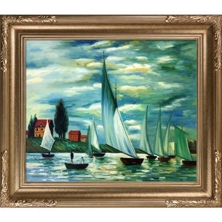 Claude Monet 'Regates at Argenteuil' Hand Painted Framed Canvas Art