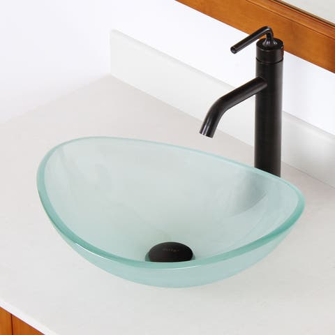 Elite 1416 Unique Oval Frosted Tempered Glass Bathroom Vessel Sink - Clear