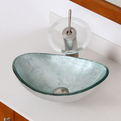 Elite 1412 Unique Oval Artistic Silver Tempered Glass Bathroom Vessel Sink