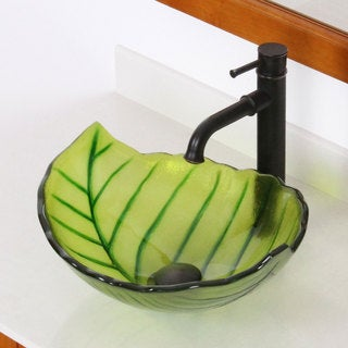 Elite Spring Leaves Design Tempered Glass Bathroom Vessel Sink