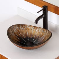 Elite 1415 Unique Oval Artistic Bronze Tempered Glass Bathroom Vessel Sink
