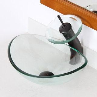 Elite 1418 Unique Oval Transparent Tempered Glass Bathroom Vessel Sink