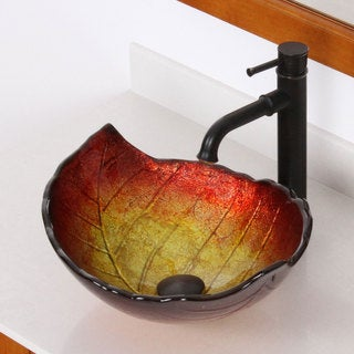 Elite Summer Leaves Design Tempered Glass Bathroom Vessel Sink
