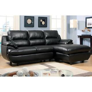 Furniture of America Quazi Contemporary Plush Cushion Bonded Leather Sectional Sofa