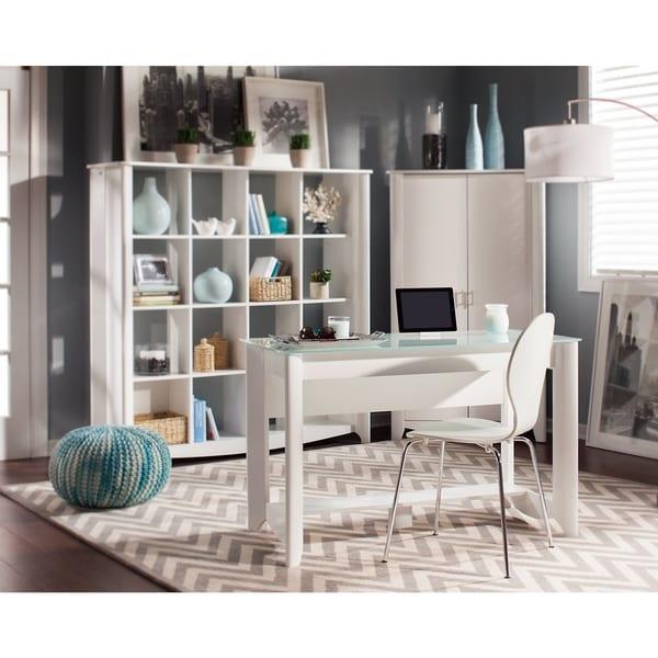 Copper Grove Sofia Writing Desk with 16-cube Bookcase/Room Divider
