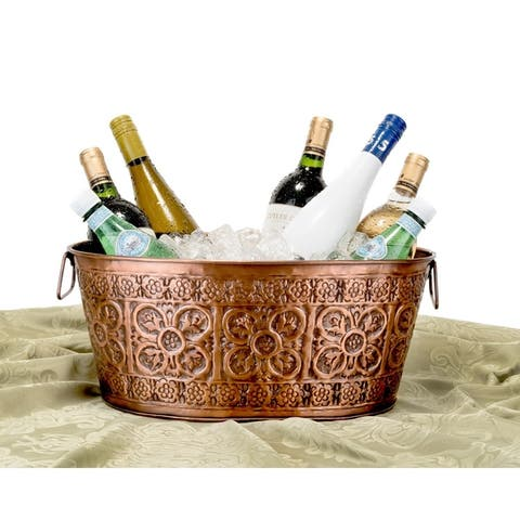 Old Dutch Quatrefoil Oval Antique Copper 2.9 gal. Party Tub