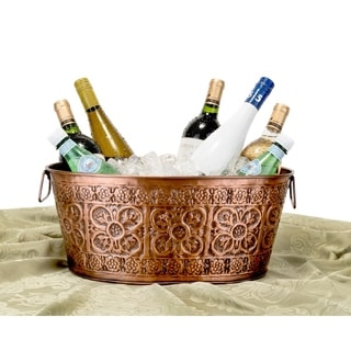 Quatrefoil Oval Antique Copper 2.9-gallon Party Tub