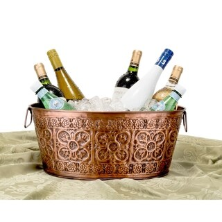Old Dutch Quatrefoil Oval Antique Copper 2.9-Gallon Party Tub
