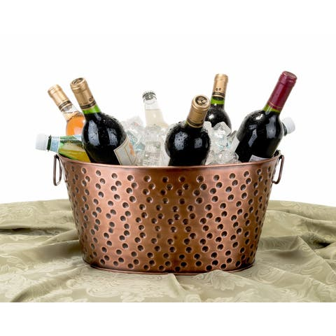 Old Dutch Oval Antique Hammered Copper 4 gal. Party Tub