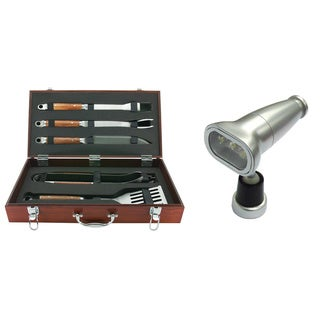 Mr. Bar-B-Q Forged 5-piece Grill Tool and Light Bundle with Wood Carrying Case