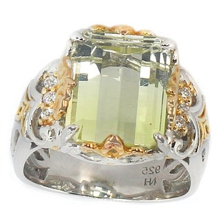 Michael Valitutti Two-tone Gold over Silver Citrine and Cubic Zirconia Ring