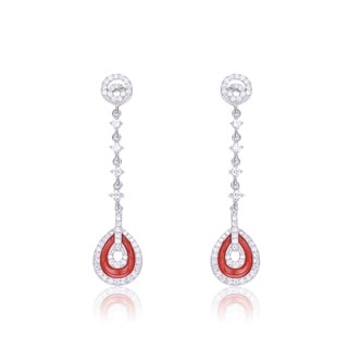 Collette Z Sterling Silver Cubic Zirconia with Red Pear Drop Earrings