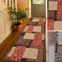 Hand-tufted Floral Contemporary Red/ Blue Runner Area Rug