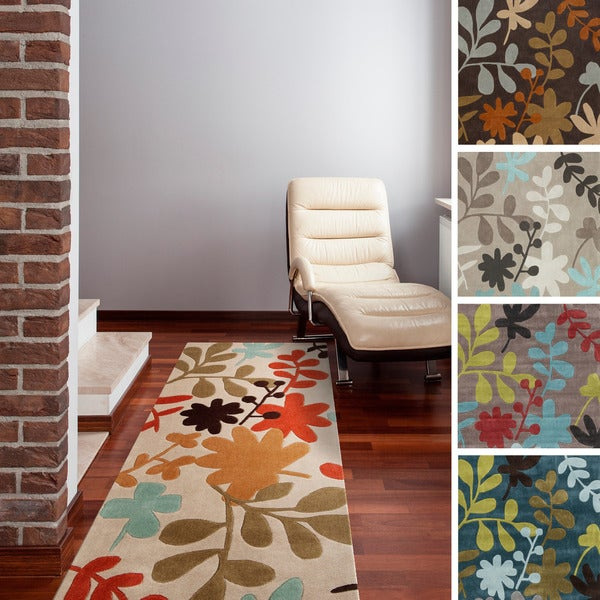 Rug Runners Contemporary: Hand-tufted Floral Contemporary Brown/ Grey/ Ivory/ Teal