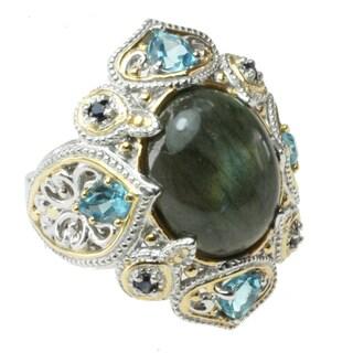 Michael Valitutti Two-tone Labradorite, Blue Topaz and Sapphire Ring
