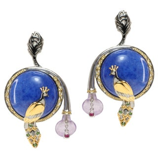 """Michael Valitutti Tri-color Blue Quartz, Amethyst, Chrome Diopside and Pink Sapphire """"Peacock"""" Earrings https://ak1.ostkcdn.com/images/products/9097015/P16285237.jpg?_ostk_perf_=percv&impolicy=medium"""