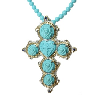 "Michael Valitutti Two-tone Turquoise and Blue Sapphire ""Cross"" Necklace"