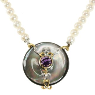 Michael Valitutti Two-tone Tahitian Shell, Amethyst and Freshwater Pearl Necklace (6.5-7 mm)